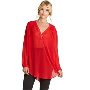 BCBGeneration Red Sheer Shirred High-Low Blouse
